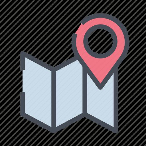 dirrection, gps, location, map, navigation, road icon