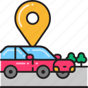 arrived, car, destination, location, marker, navigation, pin icon