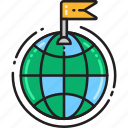 country, destination, flag, globe, location, marker, navigation icon
