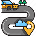 direction, driving, gps, location, navigation, road, route icon