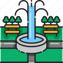 amusement, fountain, garden, landscape, nature, park, scenery icon