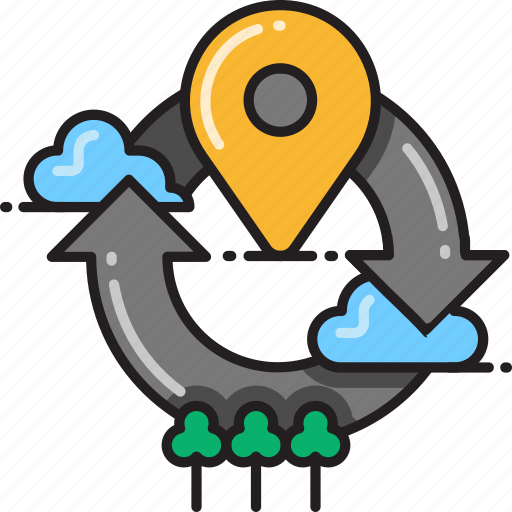 detect, gps, location, marker, refresh, reload, scan icon