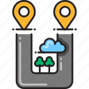 destinations, direction, location, marker, multiple, navigation, pointer icon
