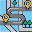 destinations, gps, map, marker, multiple, navigation, pointer icon