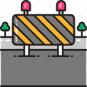 block, construction, obstruction, road, roadblock, roadworks icon