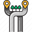 direction, freeway, highway, navigation, pointer, ramps, road icon