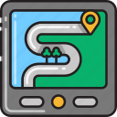 countryside, direction, gps, map, navigation, navigator, route icon