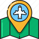 airport, flight, location, plan, search, searching, travel icon