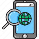 app, destination, direction, map, navigation, searching, smartphone icon