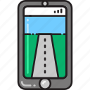 direction, navigation, road, smartphone, street, view, virtual icon
