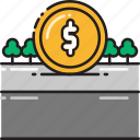 bank, coin, money, payment, road, toll icon