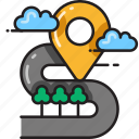 direction, marker, navigation, pointer, road, travel, windy icon