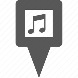 location, marker, music, pin, place, player, song icon
