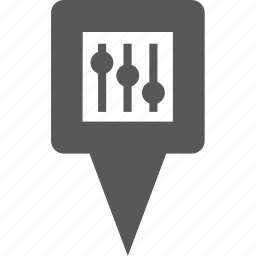 location, marker, music, pin, pointer, setting icon