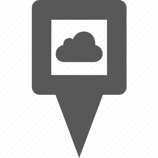 cloud, location, marker, pin, place, pointer, position icon