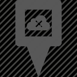 cloud, cross, delete, location, marker, pin, pointer icon