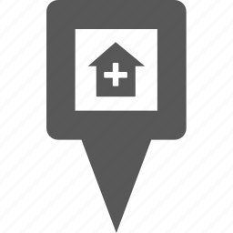 home, location, marker, pin, place, plus, pointer icon