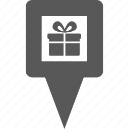 gift, location, marker, pin, place, pointer, position icon