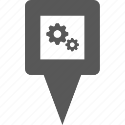gears, location, marker, pin, place, pointer, setting icon