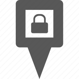 location, lock, marker, pin, point, position, secure icon