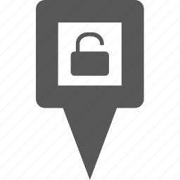 location, lock, marker, pin, place, pointer, secure icon