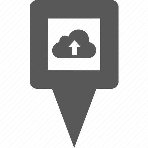 cloud, data, location, pin, place, pointer, upload icon