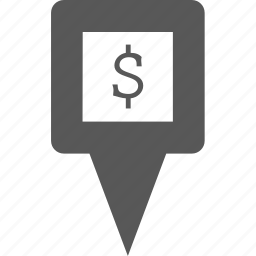 cash, dollar, location, marker, money, pin, point icon