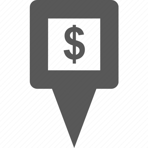 cash, dollar, location, marker, money, pin, place icon