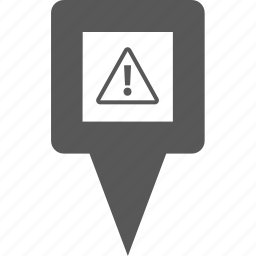 alert, danger, error, location, pin, place, warning icon
