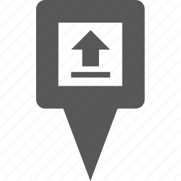 arrow, location, marker, pin, place, pointer, upload icon
