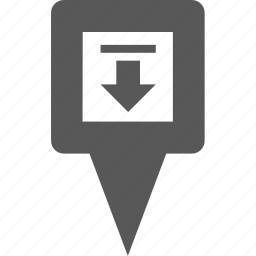 arrow, download, location, marker, pin, place, pointer icon