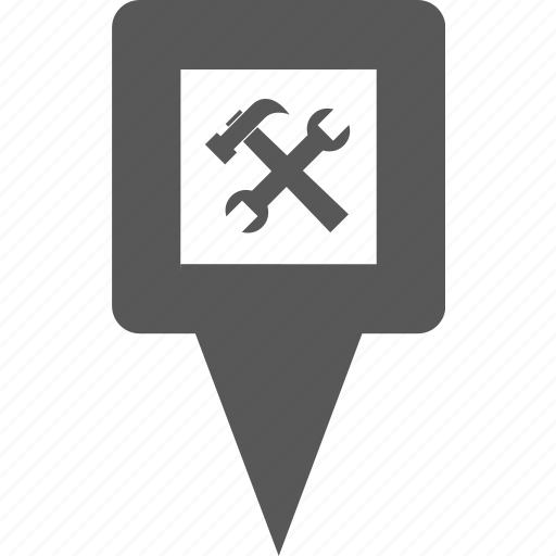 hammer, location, marker, pin, pointer, setting, tool icon