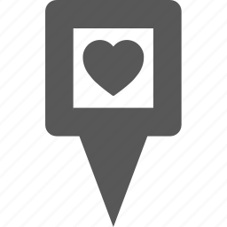 favorite, heart, love, marker, pin, place, pointer icon
