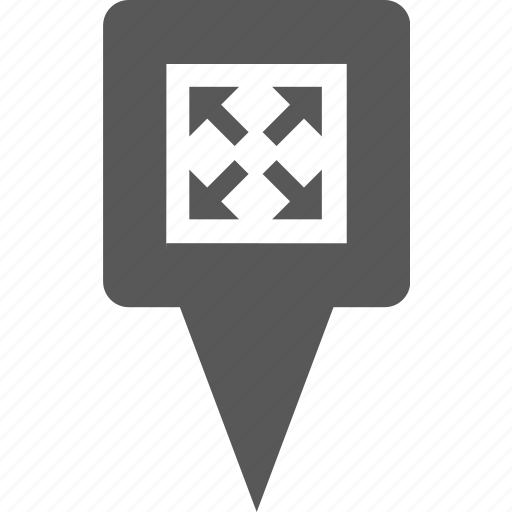 arrows, expand, fullscreen, location, pin, pointer, zoom icon