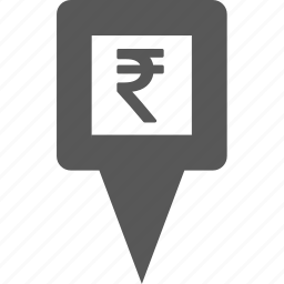 cash, currency, marker, pin, place, pointer, rupee icon