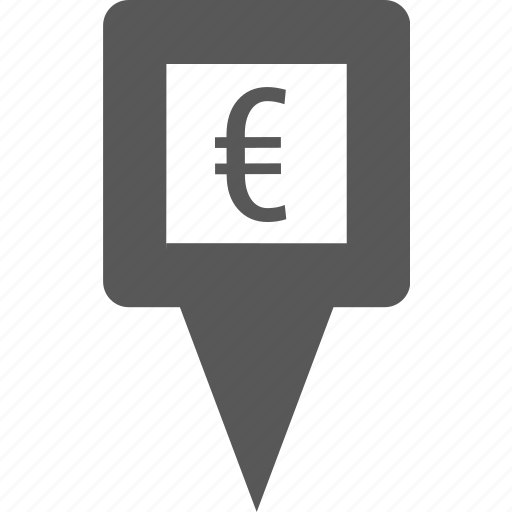 currency, euro, location, marker, pin, place, pointer icon