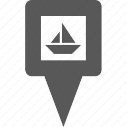 boat, cargo, location, marker, pin, pointer, ship icon