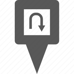 arrow, direction, location, marker, pin, place, turn icon