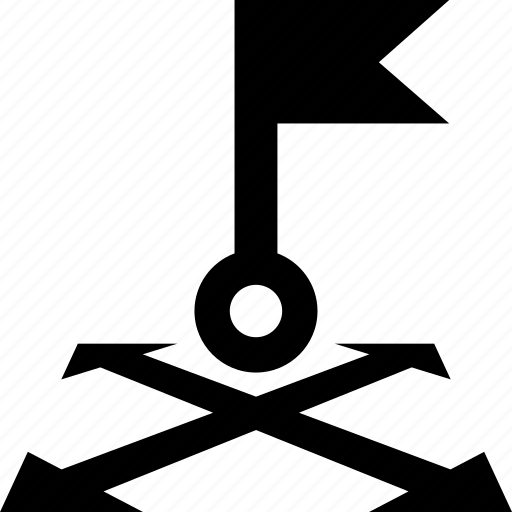 arrow, destination, flag, four, map, points icon