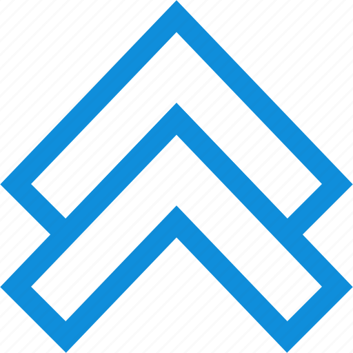 arrow, double, pointing, up icon