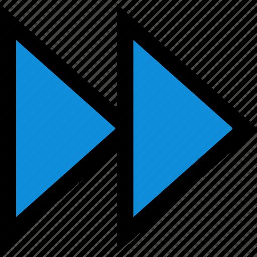 arrow, double, next icon