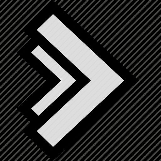 arrow, double, next, pointer icon