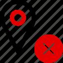 cross, delete, gps, locate, location, pin, x icon