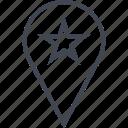 gps, pin, star icon