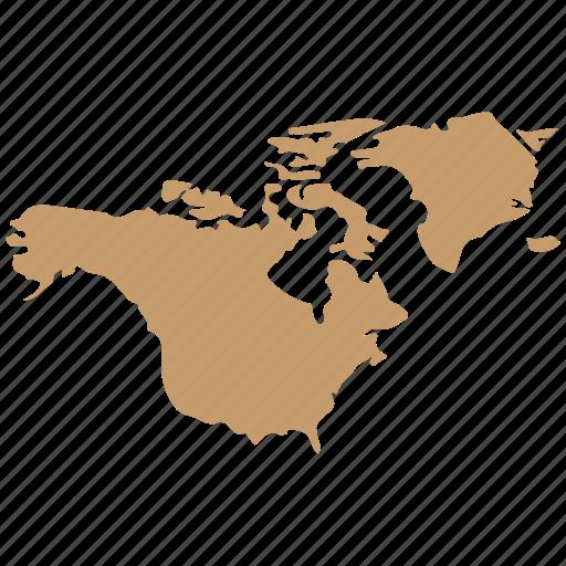 america, continent, map, north icon