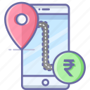 bank, location, map, mobile, navigation, pin, rupees icon