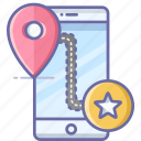 bookmark, location, map, mobile, navigation, pin icon