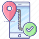 confirm, location, map, mobile, navigation, pin icon