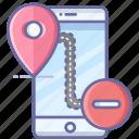 delete, location, map, mobile, navigation, pin icon