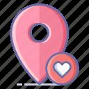 favorite, location, map, navigation, pin icon